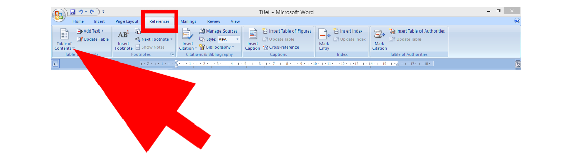How to generate a table of content in Ms word 2007 – TiJei